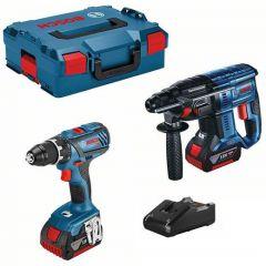 GSR 18 V-28 Akku-Bohrmaschine + GBH 18 V-21 Akku-Bohrhammer 18V 4,0 Ah Li-Ion in 2 x L-Boxx 0615990M0R