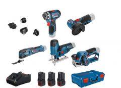 5 Toolkit 12V - Akku-Bohrer + Winkelschleifer + Stichsäge + Hobel + Multitool 12V 3 x 3,0 Ah in XL-Boxx 0615A0017D