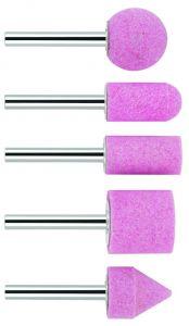 5tlg. Schleifstift-Set Aufnahmeschaft 6 mm; Körnung 60; 25; 15; 15; 25; 20 x 24; 30; 30; 25; 25 mm