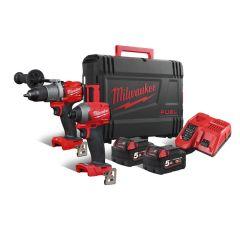 M18FPP2A2-502X Powerpack M18FPD2 Schlagbohrschrauber + M18FID2 Schlagschrauber 18 Volt 5.0 AH Li-ion